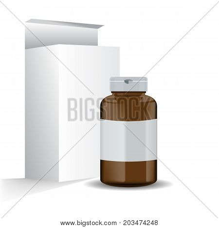 Brown realistic medical container with its box mockup. Vector illustration isolated on white background.