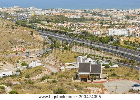 Aerial view of Benalmadena resort seen from a cable car on September 3 2017 in Andalucia region Arroyo de la Miel Spain.