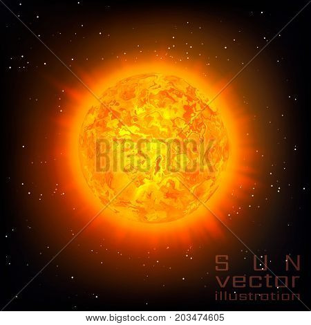 Sun with Rays and Glow on Sky Background. Sunshine Global Warming Design Concept. Vector Illustration.