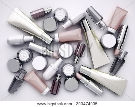 Cosmetic products lipstik and perfume on gray background. Top view. 3D illustration poster