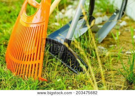 Gardening Tools, Rake, Shovel And Broom