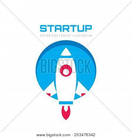 Startup - vector logo template concept illustration. Abstract rocket creative sign. Spaceship symbol. Design element.