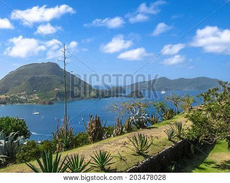 Spectacular overlook of bay of Anse du Bourg in Terre-de-Haut from the famous Fort Napoleon, Archipelago of Les Saintes, 15 kilometers from Guadeloupe, Antilles, Caribbean.