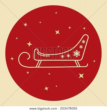 Santa s sleigh icon in thin line style. Traditional symbol in round frame.