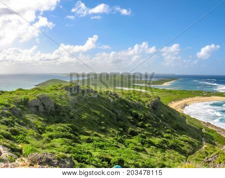 Spectacular panoramic view from Castle Point on Colibris Point, situated on extreme east of the mainland 11 km from Saint-Francois in Guadeloupe, Grande Terre, Caribbean.