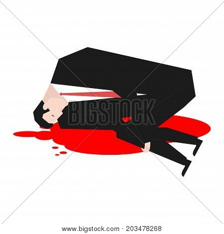 Murder Of Businessman. Dead Boss In Pool Of Blood. Vector Illustration