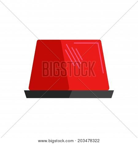 Car Red Flasher Light Sign Isolated. Vector Illustration