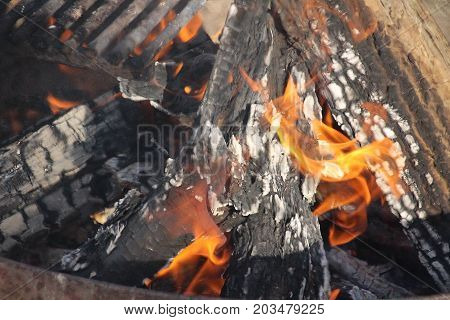 Camp fire and embers up close and personal