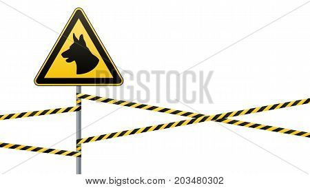 Caution - danger Be aware of dogs area is guarded by dogs. Warning sign safety. sign on pole and warning bands. White background. Vector illustration.