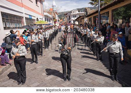 June 17 2017 Pujili Ecuador: military band marching at the Corpus Christi events