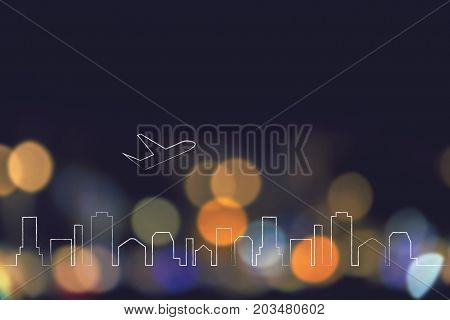 Airplane Taking Off Over City Skyline And Nighttime Lights Bokeh Background