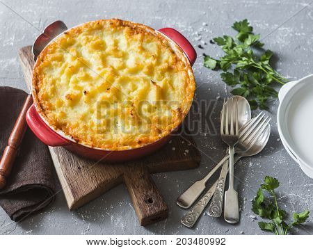 Vegetarian shepherd's pie. Potatoes lentils and seasonal garden vegetables casserole. Autumn vegetarian lunch