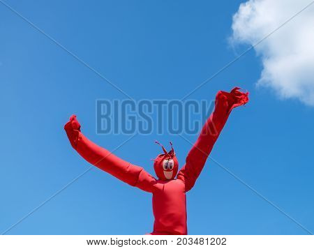 ST.PAUL MN USA - AUGUST 2017: Inflatable Wacky Waving Dancing Tube Man at Minnesota State Fair - the largest state fair in the United States.