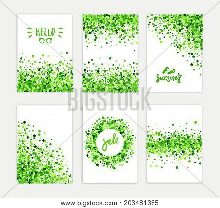 Summer sale vector creative six greeting card set of green round particles. Scattered confetti circles. All isolated and layered