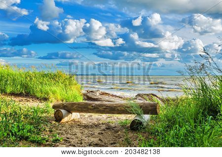 Bench on the coast of the Ob reservoir. BerdskNovosibirsk oblast Siberia Russia