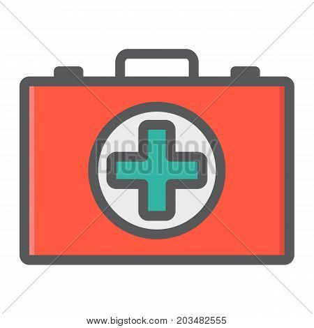 First aid kit box filled outline icon, medicine and healthcare, medical case sign vector graphics, a colorful line pattern on a white background, eps 10.