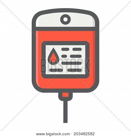 Iv bag filled outline icon, medicine and healthcare, drop counter sign vector graphics, a colorful line pattern on a white background, eps 10.