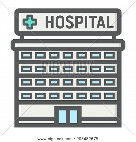 Hospital building filled outline icon, medicine and healthcare, architecture sign vector graphics, a colorful line pattern on a white background, eps 10.