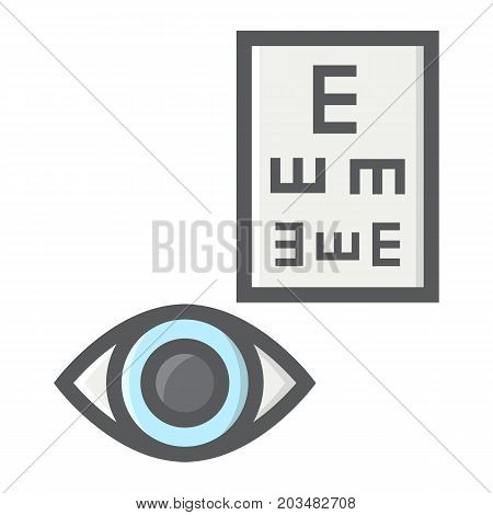 Optometry filled outline icon, medicine and healthcare, eye sign vector graphics, a colorful line pattern on a white background, eps 10.