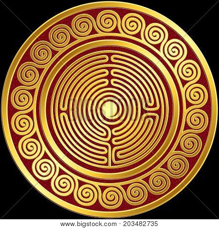 Traditional vintage Golden round Greek ornament, Meander pattern on red and black background