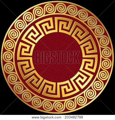 Traditional vintage Golden round Greek ornament, Meander pattern on red and black background