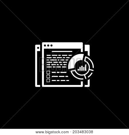 Report Icon. Business and Finance. Isolated Illustration. Web page with report text and circle diagram.