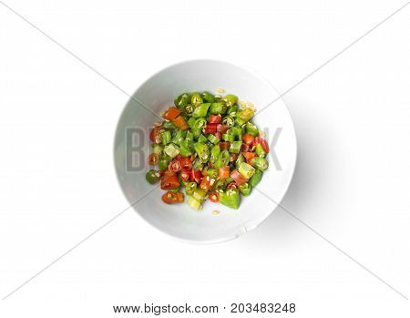 Bird chili or Thai chili sliced isolated on white background