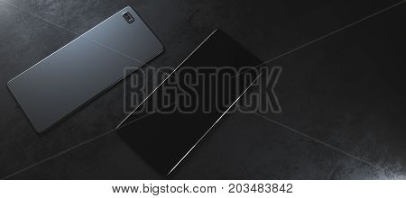 Two blank front and back cellular phones with camera on black background. Model design concept. Copy space. 3D Rendering