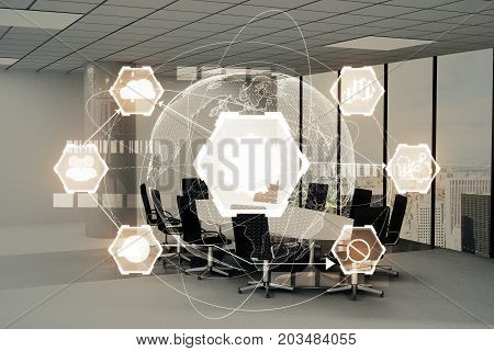 Modern conference room interior with glowing business chart projection. Interface and media concept. Double exposure