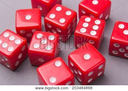 Dice red on the game table on