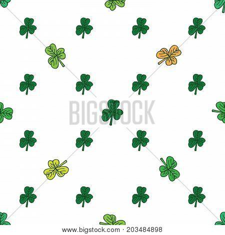 Dark and light green clover pattern on white. St. Patrick day.