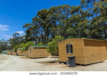 Adventure Bay Bruny island Tasmania Australia - 18 December 2016: accommodation cabins at Adventure Bay camping ground