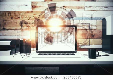 Front view of workplace with laptop coffee cup other items and creative digital business screen interface. Touchscreen and innovation concept. Double exposure