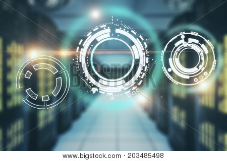 Abstract business interface on blurry server room background. Innovation concept. Double exposure