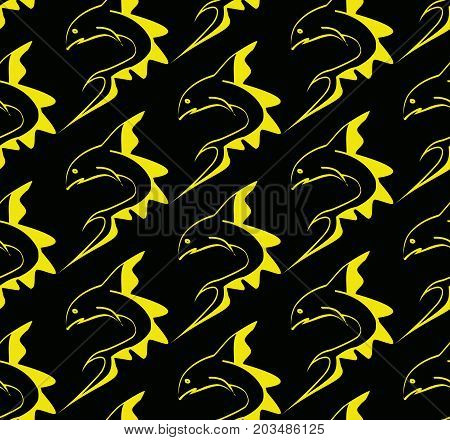 Fish prey with great upper fin yellow on a black background vector seamless putter