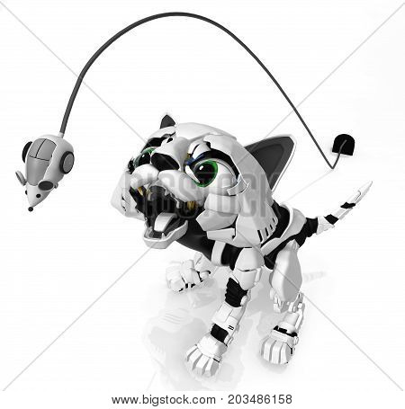 Robotic kitten mouth open catching leaping mouse 3d illustration horizontal
