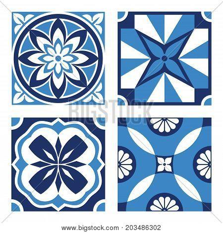 Vector vintage ornamental tile patterns in tones of blue