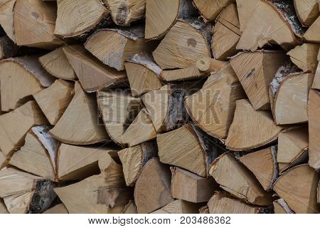 Woodpile - firewood for the winter, design or texture, close up view