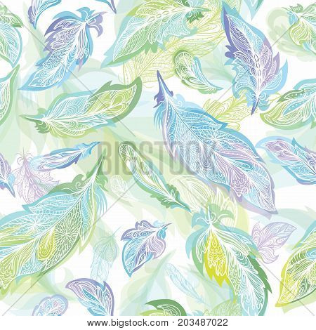 Seamless Boho style background in light blue and green colors