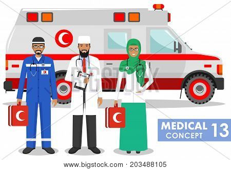 Detailed illustration muslim car ambulance and paramedic man emergency doctor nurse in a flat style on a white background. Vector illustration.