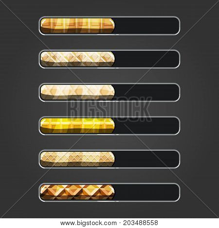 Set of waffle bar downloader. Game interface elements. Game resource bar.