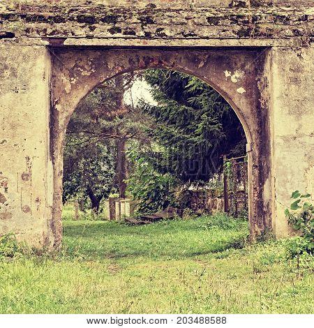 Historic Gate Of Stvolinky Lock In Tourist Area Machuv Kraj During Summer Holidays In Polaroid Styli