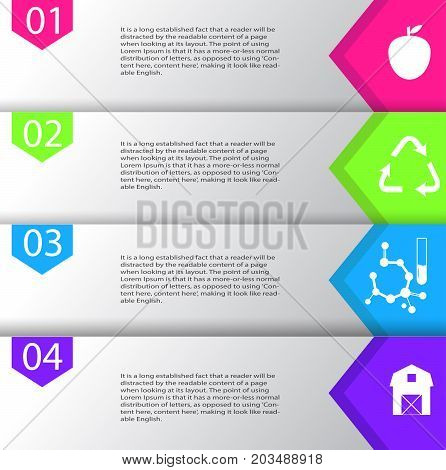 Infographic local non GMO organic cruelty free could be used for produce or cosmetics vector illustration