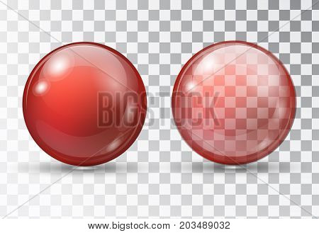Red ball. Transparent red ball. Rubber ball on a transparent background. Glass bead. Red bubble. Red sphere