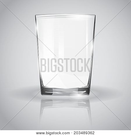 Empty glass cup isolated on a gray background. Vector illustration. Pure glass for drinking water. Glass with highlights