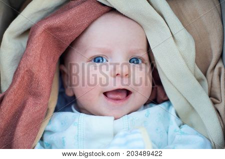portrait of a infant in a sling