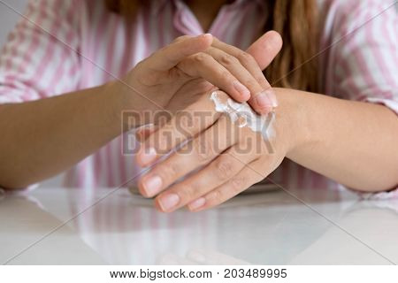 Beautiful Woman Hands. Spa Manicure Concept. Female Hands With French Manicure. Soft Skin, Skincare