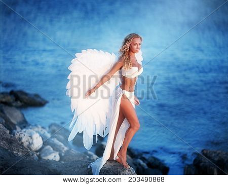 The beautiful girl with wings sits on seacoast