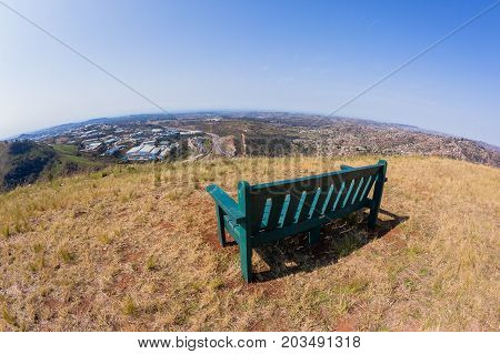 Chair overlooking birds-eye of Pinetown westmead Industrial park alonside Marianhil N2 toll highway