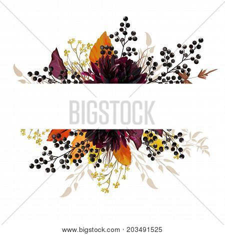 Floral beautiful design card with burgundy Dahlia flower yellow flowers autumn orange leaves and berries. Watercolor style bohemian border frame. Wedding cute trendy vector invite copy space ribbon